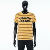 CELINE 490$ Striped Cotton Tshirt With Flocked CELINE PARIS Logo