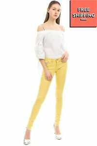 PEPE JEANS PIXIE Stretch Jeans W25 L32 Yellow Zip Fly Skinny Fit