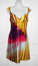 Moda International 100% Silk Colourful Dress Size 2 UK 6