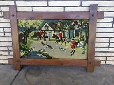Vtg 15.5x 27 Completed Framed Needlepoint Picture English Fox Hunting Lodge