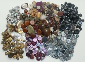 Mixed Lot Vintage Used Buttons Dark Shades Silver Gold Brown Black Sewing Crafts