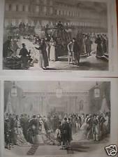 2 prints State Ball Tuileries Paris France 1870