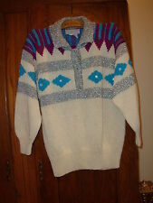 Vtg Nannelle Hand Knit White Sweater Silver Turquoise Maroon Trim