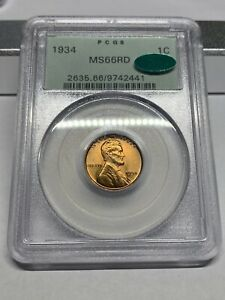 1934 P PCGS MS66RD CAC OGH Wheat cent PQ possible ms67RD