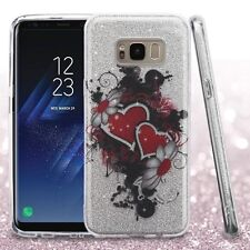 Samsung Galaxy S8 / S8+ Plus - TPU Rubber Shiny Glitter Bling Gummy Flower Case