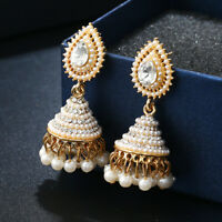 Indian Gold Plated Party Wear Traditional Pearl Chain Jhumka Earrings Set Sale