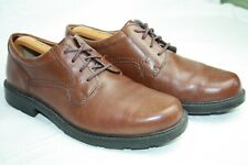 CLARKS CUSHION CELL MENS 9G LEATHER WALKING LEISURE SHOES IN TAN