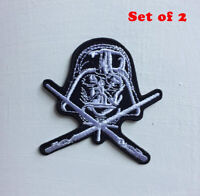 Darth Vader black and white star wars Art Iron/sew on Embroidered Patch Set of 2
