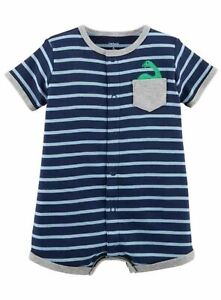 Carter's Baby Boys' Striped Dino Pocket Snap-up Romper ~ Size 12 Months~ New