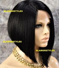 "15"" Straight Short Bob Off Black Full Lace Front Wig Heat Ok Hair Piece #1B NWT"