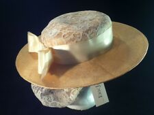 NWT! Vintage 80's Eric Javits Straw Hat w/ Lace, Bow & Attached Snood -- 21 1/2""