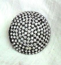 "Unique VICTORIAN HUGE 2.5"" RHINESTONE dress/coat BUTTON SNAP METAL BACK"