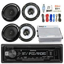 "400W Bluetooth Amplifier, Amp Kit, 4 Kenwood 6.5"" Speakers, Kenwood CD USB Radio"