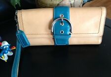 Vintage Coach Large Tan Leather w/Teal Accent Buckle Clutch Purse w/Strap