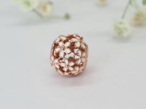 NEW PANDORA Rose gold   Darling Daisy White Enamel Bead Charm