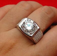 14K White Gold Finish Clear Round Cut Diamond Solitaire With Accents Men's Ring