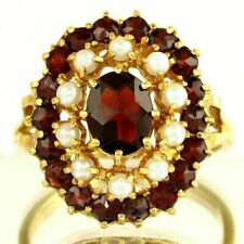 14K Yellow Gold Red Garnets & Cultured Pearl Cluster Cocktail Ring Sz 9