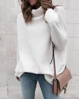 Women Cashmere Fur Pullover Sweater Oversize Loose Turtleneck Top Coat Jacket
