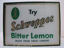 Orig Old Schweppes Bitter Lemon Soda Soft Drink Adv Sign glass reflective gold