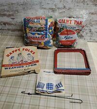 Vtg 2 Bags Potholder Weaving Looms + 2 Hooks + Loops Lot - Happy Folks