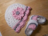 SALE--Handmade Crochet Baby Girl Hat, Booties Set White, Pink & Gray  0-3 Months