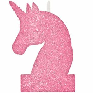 Unicorn Birthday Candle Pink Partyware Children's Party Cake Topper Tableware