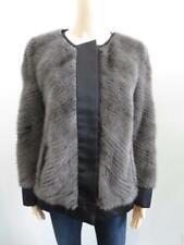 J. Mendel Grey Mink Fur/Black Satin Jacket Size 6