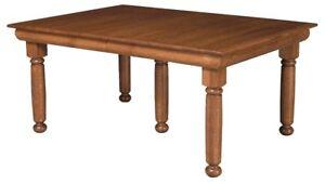 "Amish Hampton Dining Table Solid Wood Traditional Farmhouse Leg 42"" x 72"""