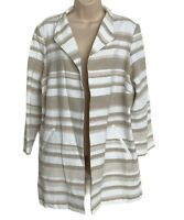Chico's Duster Blazer Women's Large Striped Tan Beige Pockets Jacket