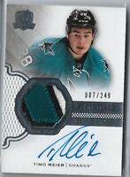 2016-17 THE CUP Hockey TIMO MEIER Rookie auto Patch 007/249 3 CLR Name PLATE?