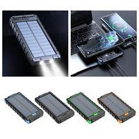 Sans fil Solaire Power Bank Qi 20000mAh Type-C 5V Double USB Pour Les