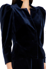 Carla Zampatti Midnight Blue Lush Velvet Evening Jacket Navy Puffed Shoulders 6