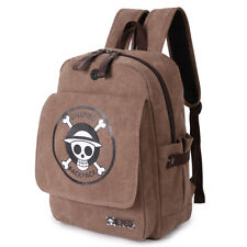 One Piece Straw Hat Pirates Skull Luffy Backpack Canvas Bag Rucksack Knapsack