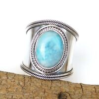 Larimar Ring 925 Sterling Silver Blue Larimar Ring Wide Band Larimar Ring-S156