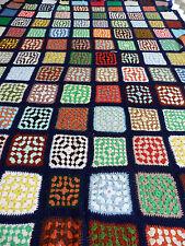Couverture crochet patchwork granny blanket 2 m x 1,45 m Vintage