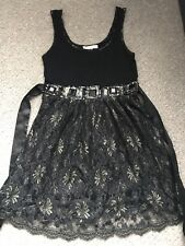 Miso Black Floaty Dress With Gold Lace Detailing size 10 going out Christmas