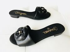 17C CHANEL BLACK CAMELLIA FLOWER LEATHER MULES SLIDES SANDALS CC LOGO 36