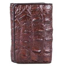 Brown Trifold Men Wallet Fairy-Leather Genuine Crocodile Bone Tail Skin Leather