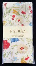 Set of 4 NEW Lauren Ralph Lauren Georgica Garden Tan Napkins Floral Cotton Cloth
