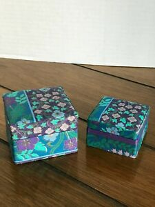 Set of 2 Trinket Boxes FABRIC FLORAL Turquoise Purple Jewelry