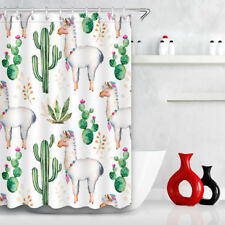 Cactus Alpaca Bathroom Fabric Chic Shower Curtain Decor Waterproof Hooks 60x72''