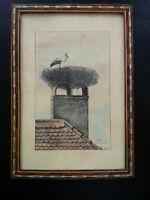 Superbe dessin plume et aquarelle nid de cigogne Alsace signé bel encadrement