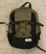 Vintage LL Bean Book Bag Backpack School Hiking Olive Brown/Black