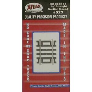 """Atlas #523 HO Scale CODE 83 1 1/2"""" STRAIGHT SECTION - (4 pieces)"""