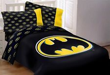 DC Knight Batman Emblem 7 Piece Reversible Queen Size Comforter Set W/Bed Sheets