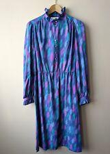 70s 80s vintage Edwardian style high necked dress 14 blue purple patterned