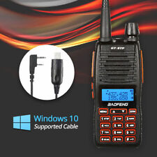 Baofeng GT-5TP 8W HP U/VHF Ham Transceiver Dual PTT Two-way Radio + Win10 Cable