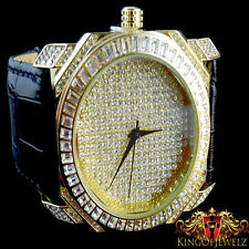 Mens Yellow Gold Finish Lab Diamond Iced Out Genuine Leather Band Jojino Watch
