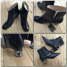 BNIB ZARA NAVY BLUE PATENT FINISH ANKLE BOOTS WITH CLEAR HEEL UK 5 EU38 US7.5