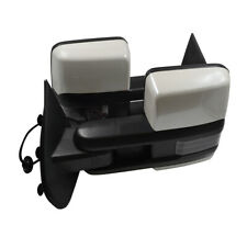 For 14-18 Silverado Painted Abalone White Tow Mirror Power Heated Smoke Signal